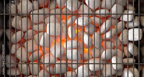 Poster de jardin Texture de bois de chauffage Charcoal Fire And Grid
