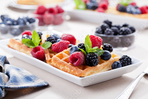 Homemade Waffles With Fresh Organic Fruits