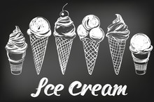 Ice Cream Set Hand Drawn Vector Illustration Sketch, Drawn In Chalk On A Black Board