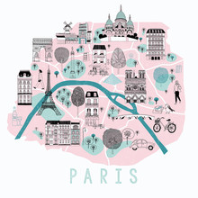 Cartoon Map Of Paris With Lege...