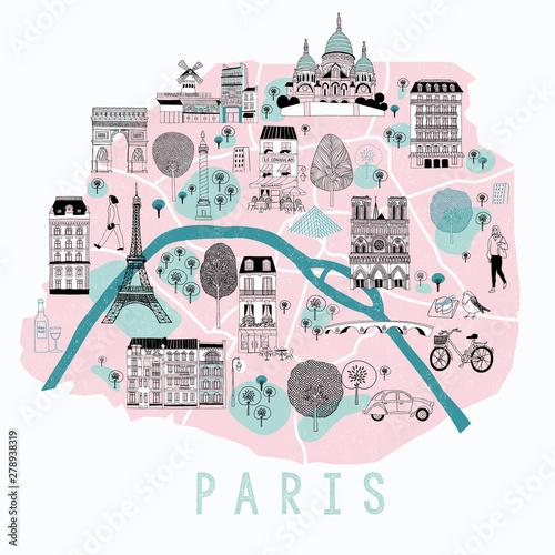 Photo Cartoon Map of Paris with Legend Icons. Print Design