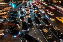 Night Traffic Jam On The Crossroad