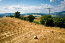 Aerial View Of Straw Bales Wit...