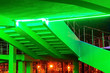 Leinwanddruck Bild - the architecture of the building stairs, with green lighting.