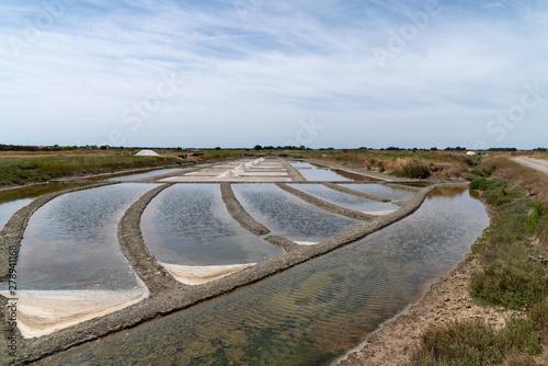 Fototapeta marshes for evaporation of salt on the island of Noirmoutier Vendee France