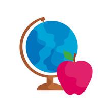 Terrestrial Globe With Apple Fruit