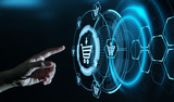 Fototapeta Kawa jest smaczna - Add To Cart Internet Web Store Buy Online E-Commerce concept