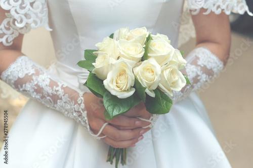 bride with wedding bouquet Fototapet