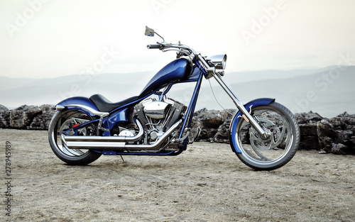 Fototapeta Custom blue motorcycle with a mountain range landscape background