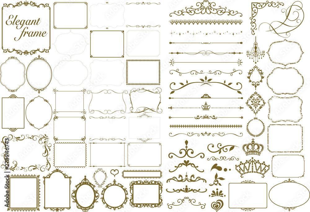 Fototapety, obrazy: Gold color decorative frame set