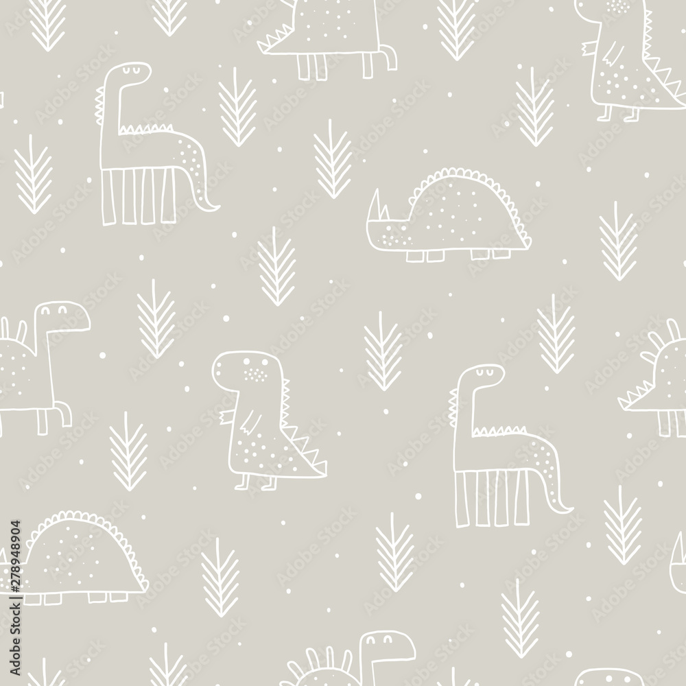 Baby seamless pattern with dinosaurs and tropical plants. Vector texture in childish style great for fabric and textile, wallpapers, backgrounds. Scandinavian style.