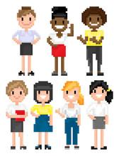 Pixel Art Game Characters Vect...