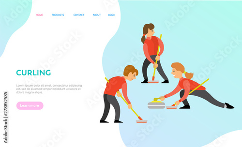 Tableau sur Toile Curling vector, game participants, people playing in team together, competition of man and woman wearing uniforms and holding wooden sticks