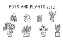 Hand Drawn Houseplant Set 2. If You Like It, Do Check Out Set 1 As Well