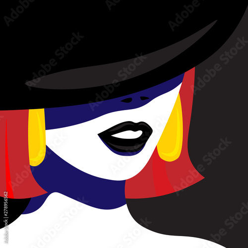 Girl in hat in pop art style fashion woman. Vector graphics