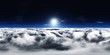 Leinwandbild Motiv Panorama of clouds, HDRI, environment map , Round panorama, spherical panorama, equidistant projection, panorama 360, flying above the clouds,sky above the clouds, 3D rendering