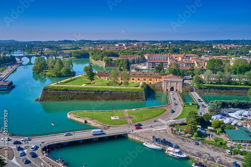 Foto auf Gartenposter Budapest Aerial photography with drone. Beautiful view of the city of Peschiera del Garda, Italy.