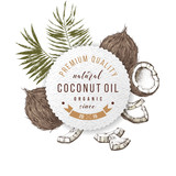 Coconut oil label with type design over hand drawn coconuts and leaves - 278963530