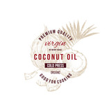Coconut oil label with type design over hand drawn coconut - 278963533
