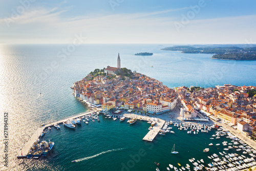 Beautiful Rovinj at sunset. Aerial photo. The old town of Rovinj, Istria, Croatia