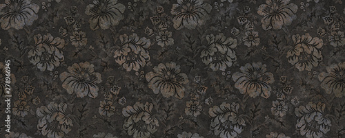 black abstract floral background