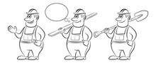 Cartoon Workers In Overalls, Set. With A Board, Spanner And Shovel. Black Contours Isolated On White Background. Vector