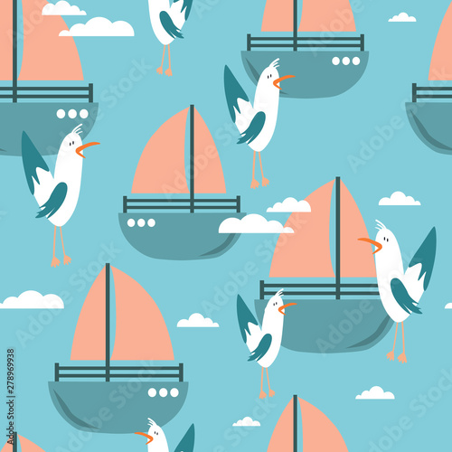 Seamless pattern, birds and boats, hand drawn overlapping backdrop. Colorful background vector. Cute illustration, seagulls. Decorative wallpaper, good for printing