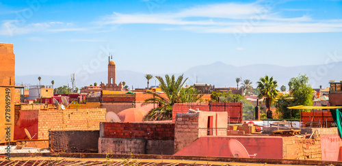 Foto auf Leinwand Himmelblau Panoramic view of Marrakesh and old medina, Morocco