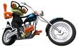 Leinwandbild Motiv Fun frog on a motorcycle - 3D Illustration