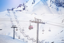 Aerial Cableway At Les Arcs Ski Area In France