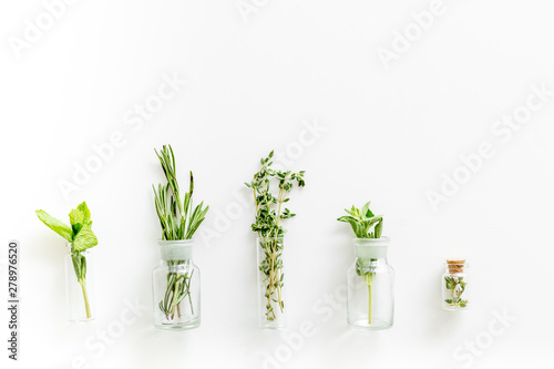 Store up medicinal herbs on white background top view space for text Wallpaper Mural