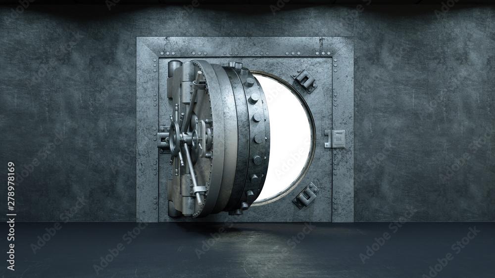 Fototapeta 3d render Opening Of The Vault Door In Bank