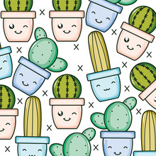 Cactus Plants In Pots Kawaii C...