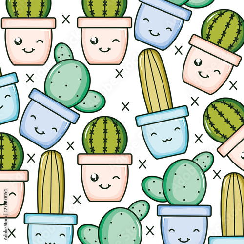 cactus plants in pots kawaii characters pattern Wallpaper Mural
