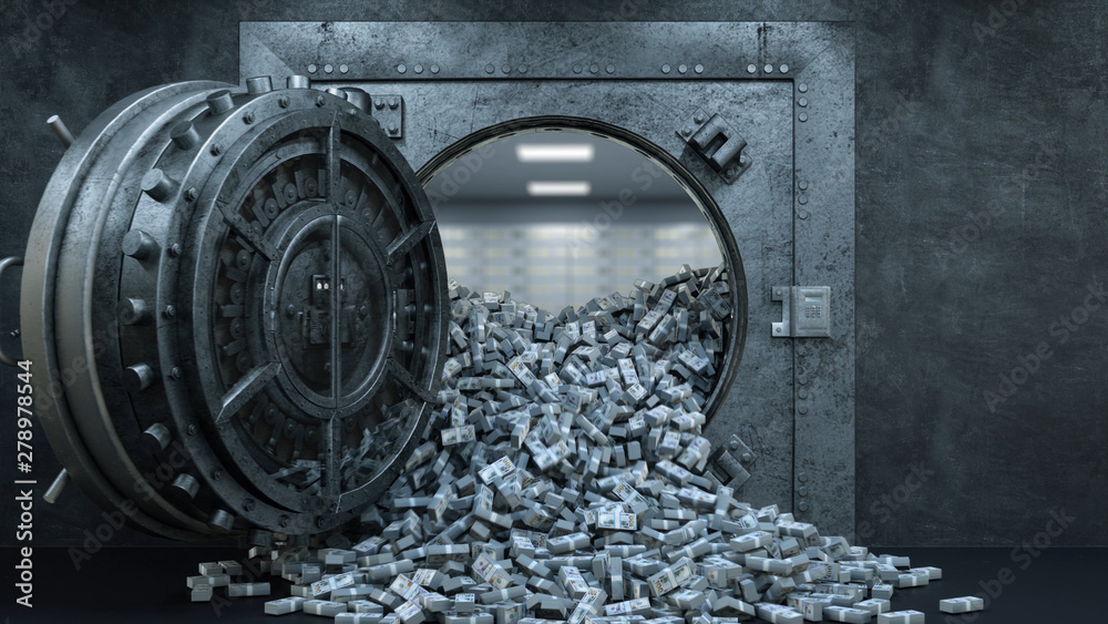 Fototapety, obrazy: 3d render Opening Of The Vault Door In Bank with a lot of money