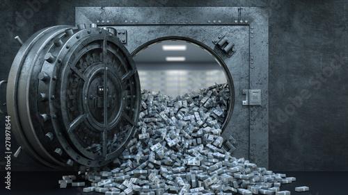 Fototapeta 3d render Opening Of The Vault Door In Bank with a lot of money obraz