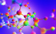 canvas print picture - Neon molecular mesh design. Purple ultraviolet. 3D illustration of an abstract colorful molecule