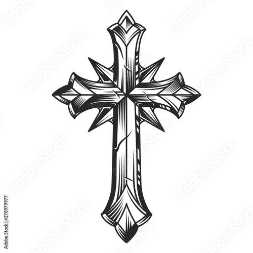 Vintage religious original cross template Fototapet