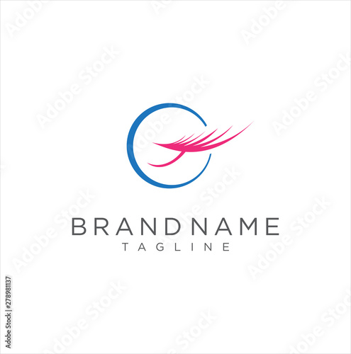 Beauty eyebrow lashes logo icon vector image stock - Buy