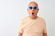 Senior Grey-haired Man Wearing Striped T-shirt And Sunglasses Over Isolated White Background Afraid And Shocked With Surprise Expression, Fear And Excited Face.
