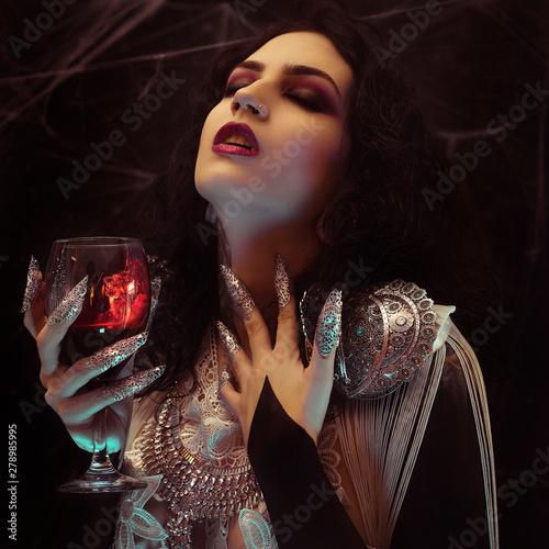 Vampire Halloween Woman portrait Billede på lærred
