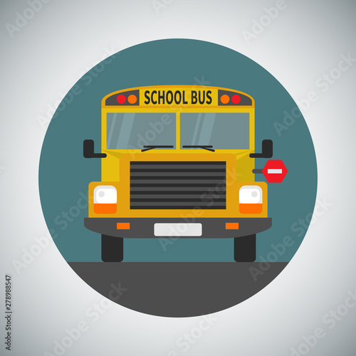 School bus icon in flat style Canvas Print