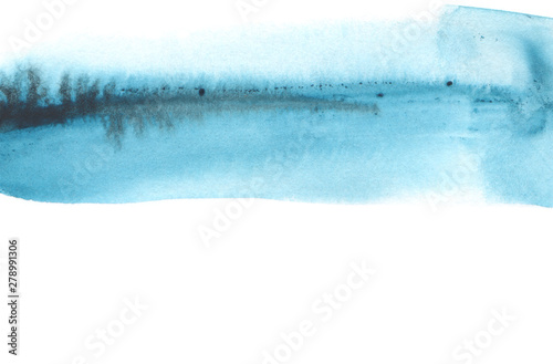 Abstract watercolor brush strokes painted background. Texture paper. Blue tone. Isolated.