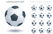 Rotating Soccer Ball. 3d Realistic Vector Object. Sequence Of Frames For GIF, Flash, CSS Animation. Looped Spin. 12 Frames Per Second. Sprite Sheet. Animated Icon Of A Football Equipment. Set Of Ball