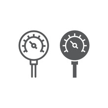 Oil Manometer Line And Glyph Icon, Control And Meter, Pressure Gage Sign, Vector Graphics, A Linear Pattern On A White Background.