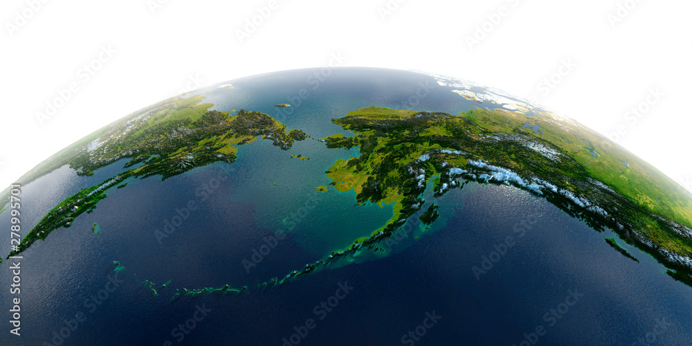 Fototapety, obrazy: Detailed Earth on white background. Detailed Earth. Chukotka, Alaska and the Bering Strait