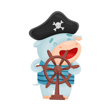 Cute Hippo Pirate. Vector Illustration On White Background.