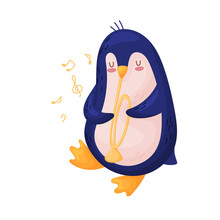 Cute Penguin With A Pipe. Vect...