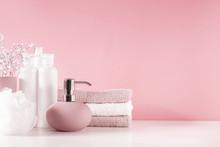 Soft Light Bathroom Decor In P...