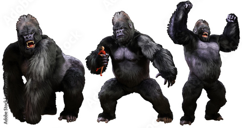 Fotomural  Giant monstrous gorilla 3D illustration